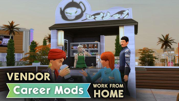 The Sims 4 Barmen Barista Vendor Work from Home Career Mods Meyhaneci Kahveci Satıcı Evden Çalışmalı Kariyer Modları Rubi Kübra Dinçer